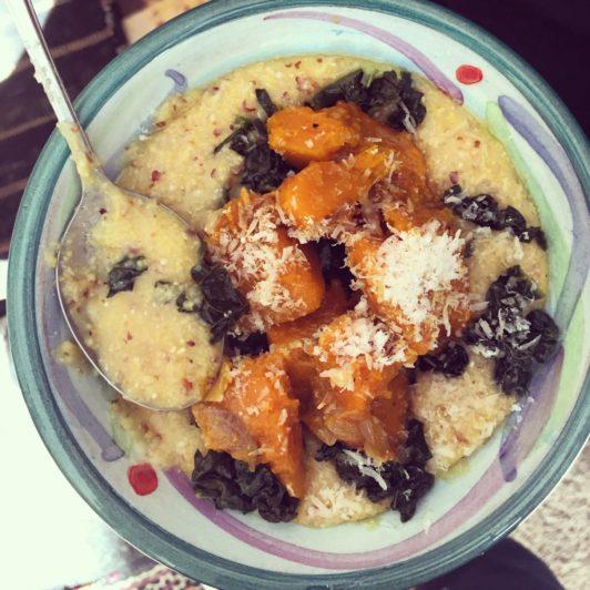 Heirloom polenta with Hokkaido pumpkin and cavolo nero