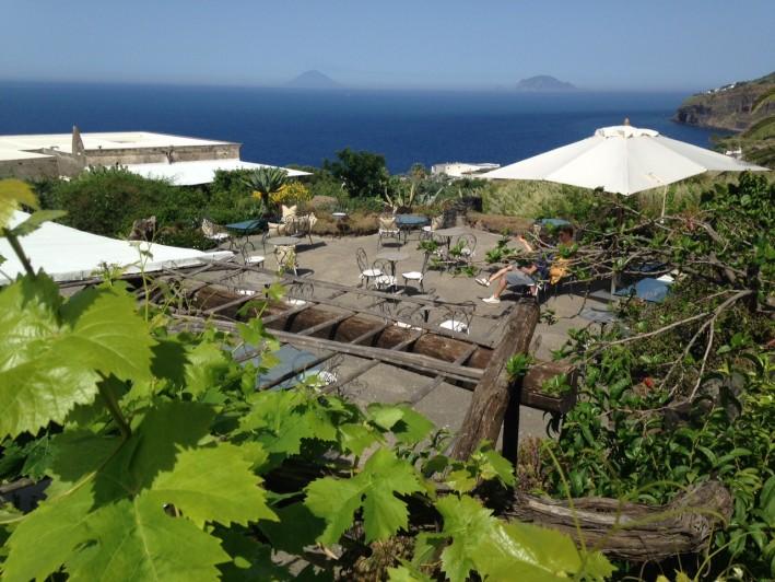 Salina sea and volcano vistas