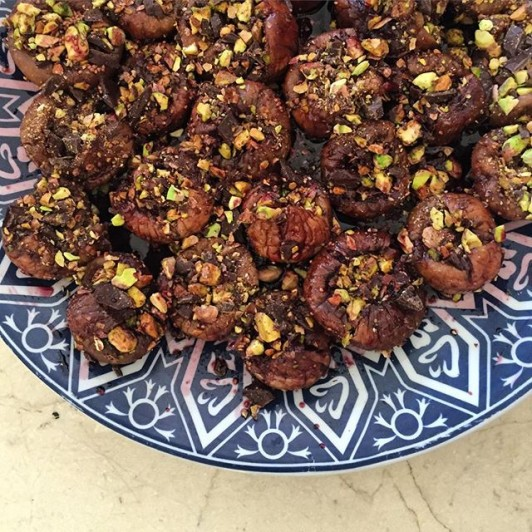 Figs stuffed with chocolate and rolled in pistachios