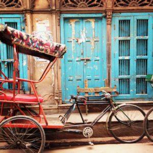 India bicycle in doorway