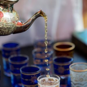 Morocco pouring mint tea
