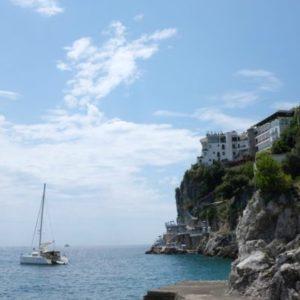 Catamaran Off Coast - Amalfi Coast, Italy - Peggy Markel's Culinary Adventures