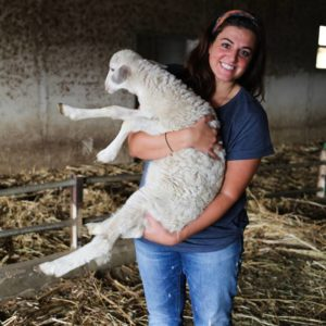 Linda Sarris with Lamb